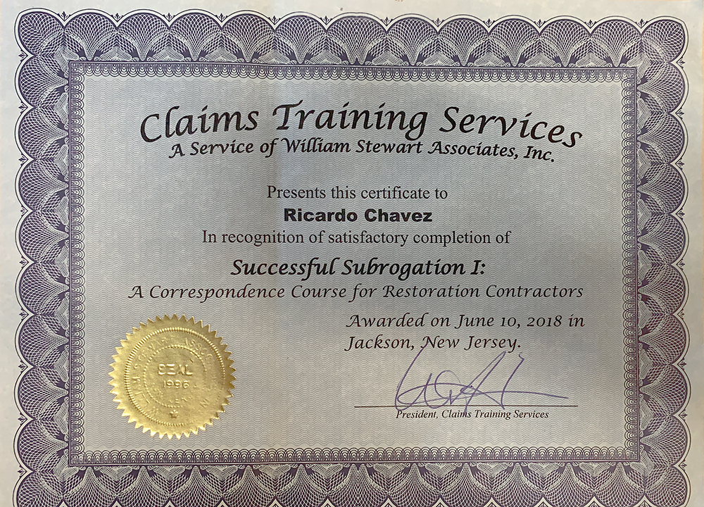 Claims Training Services Certificate