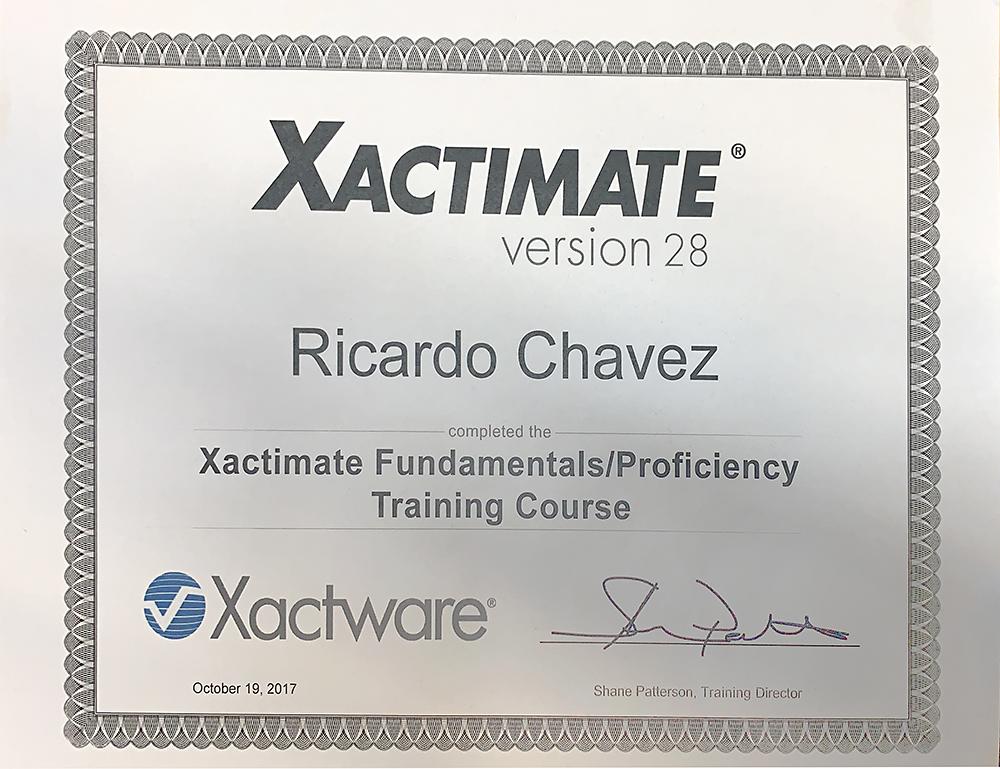 Xactimate Certificate